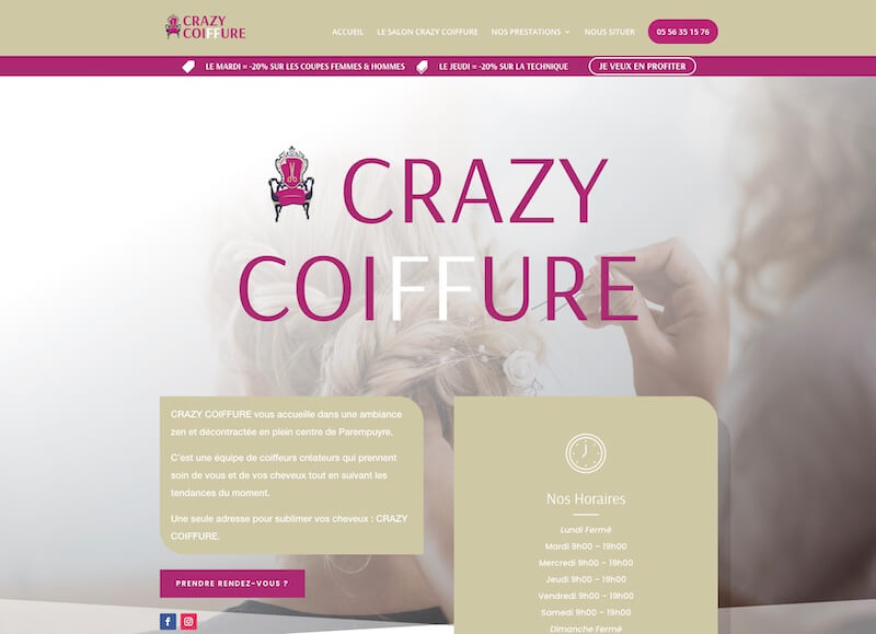 CRAZY COIFFURE - creation d'un site internet