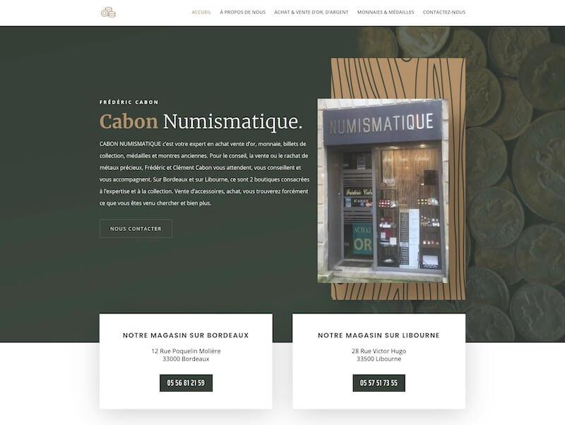 cabon numismatique - création de site internet