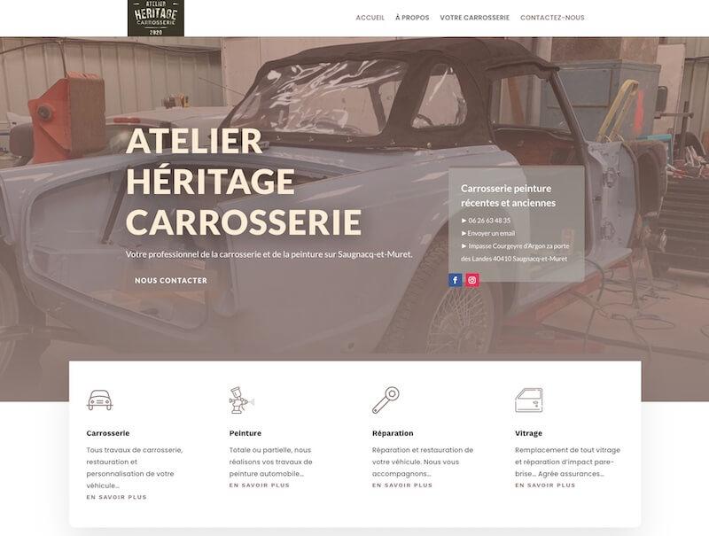 création de site internet pour - atelier héritage carrosserie