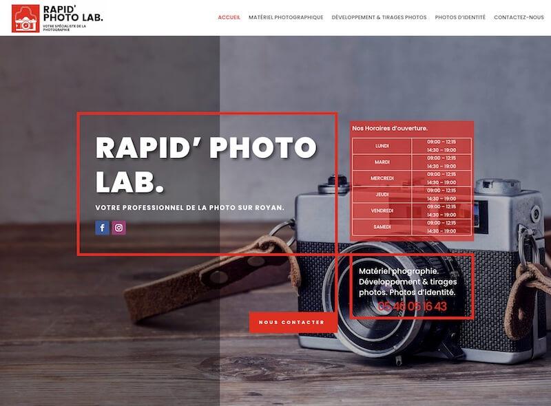 rapid photo lab - création de site internet